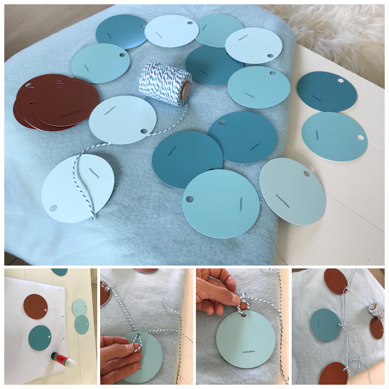 DIY-Girlande, Shuper schnelle Girlande aus Farbkarten selber machen. #Girlande, #Chalet8