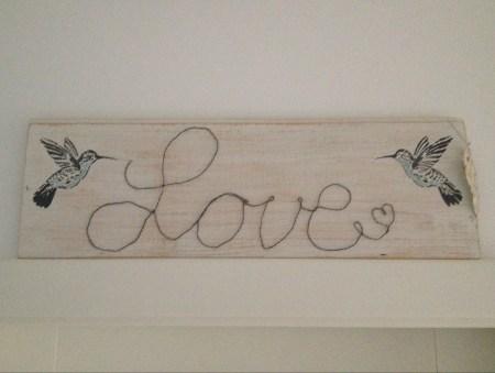 Chalet8, Blog, selber machen, Schild, Draht, Schriftzug, Love, Kolibri, #Chalet8