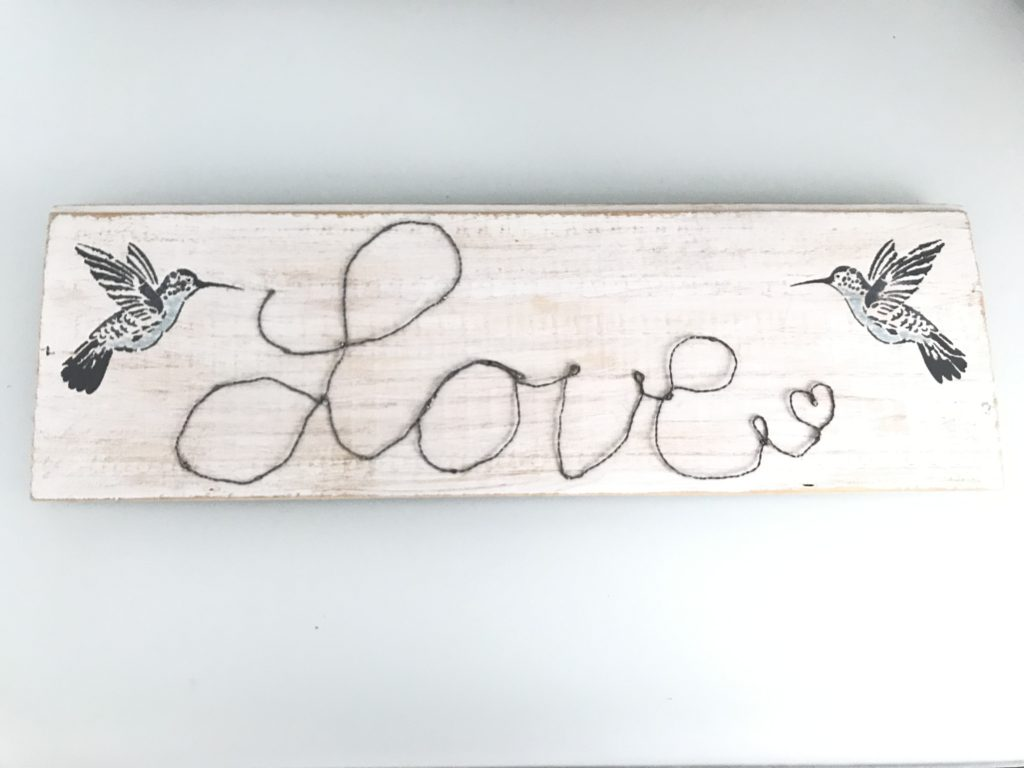 Chalet8, Blog, DIY, Holzschild, Draht, Schriftzug, Love, Kolibri, #Holzschild, #Chalet8