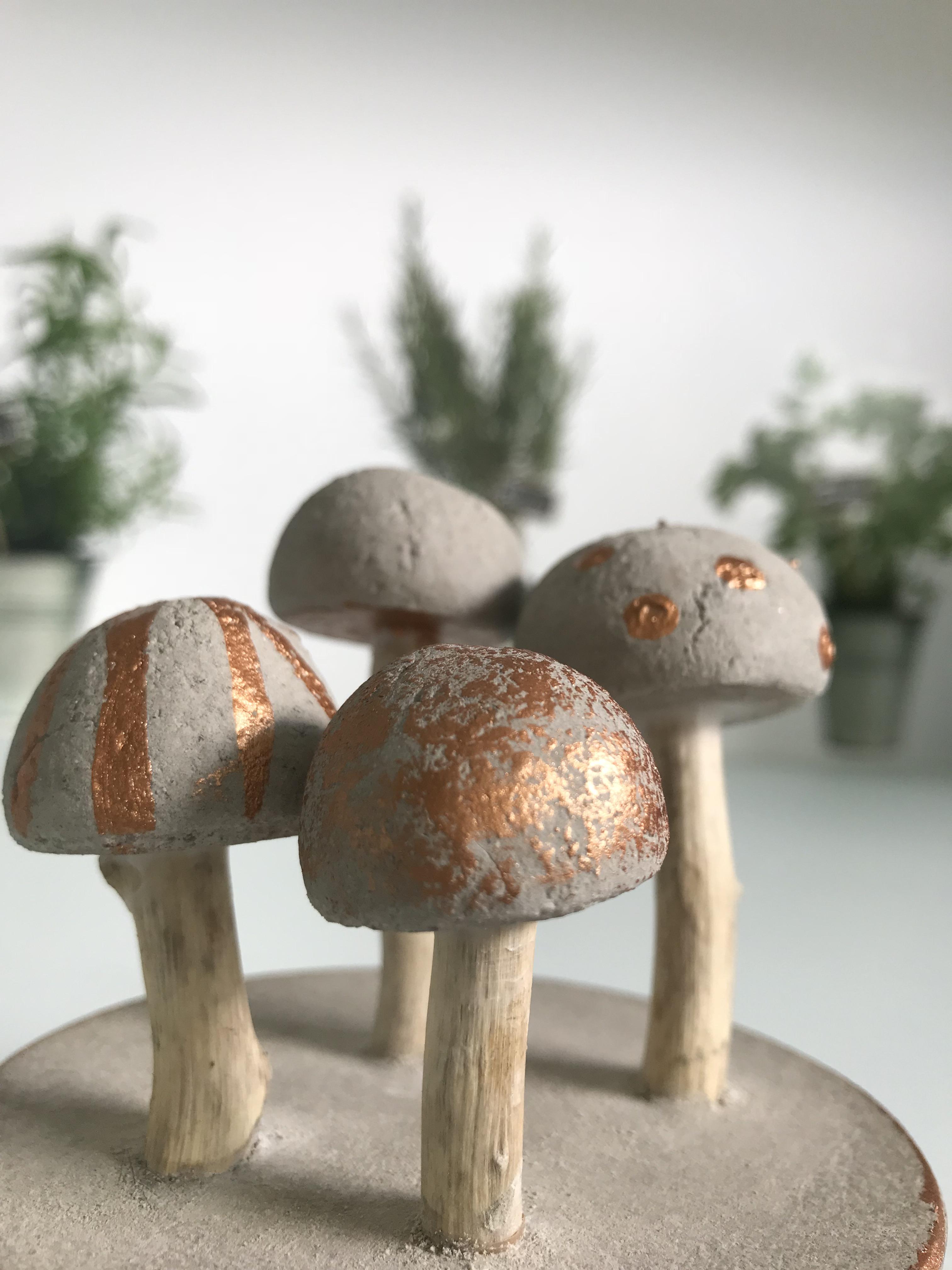DIY: Beton Pilze basteln, Tolle Deko aus Kneteton selber machen. #Chalet8, #Beton