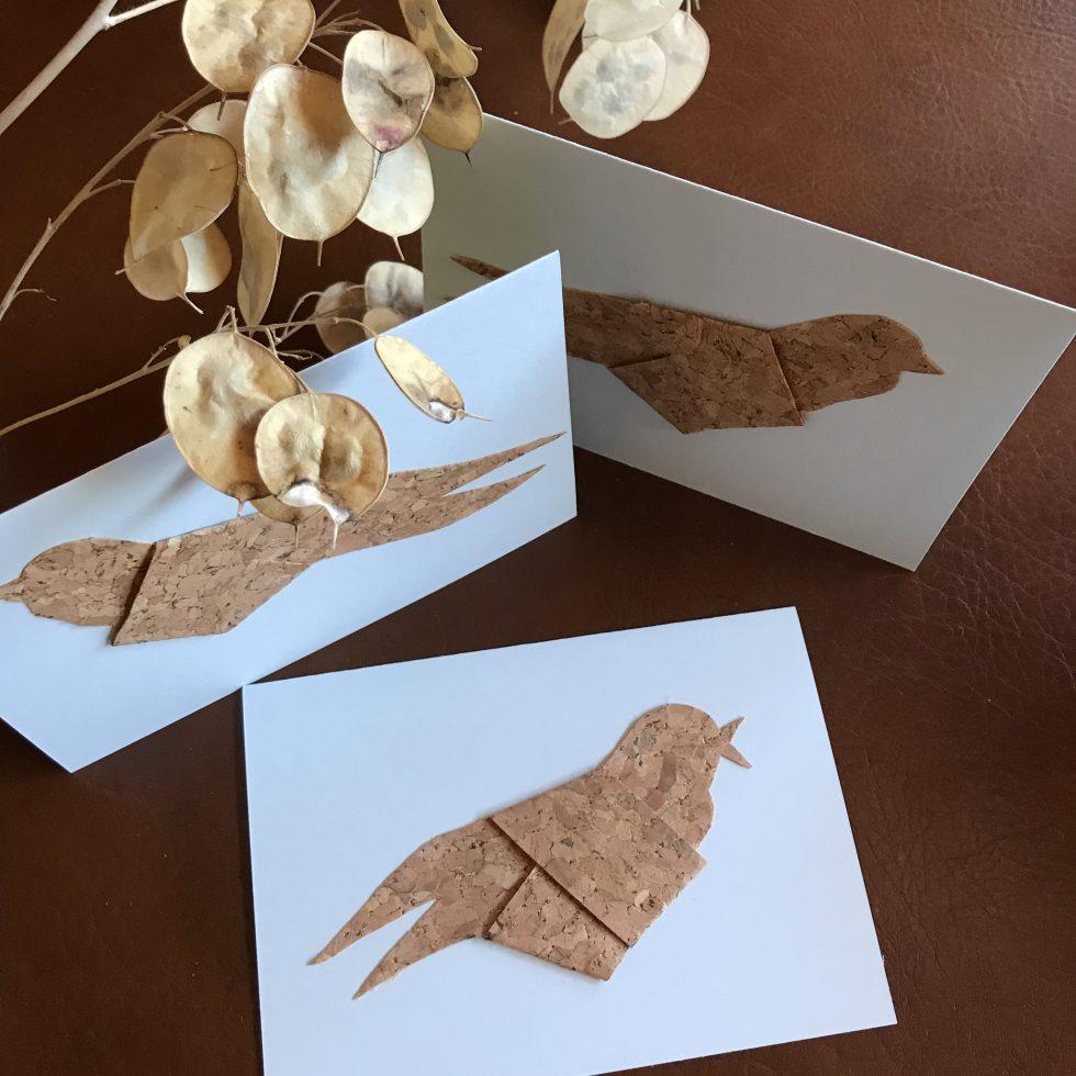 DIY: Grußkarten mit Korkvögeln