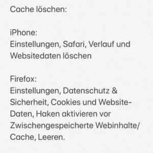 Cache löschen im iPhone/ Firefox