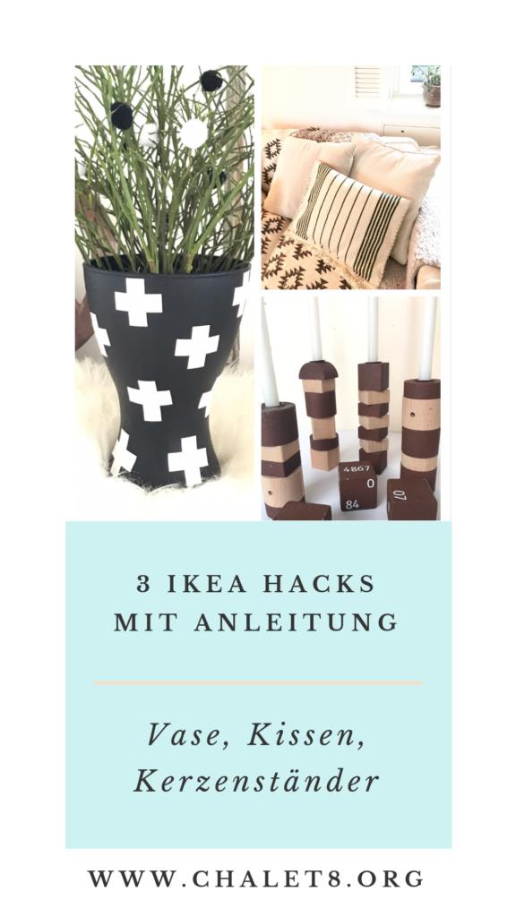 3 IKEA Hacks: Vase, Kerzenständer und Kissen. #Chalet8, #IkeaHack