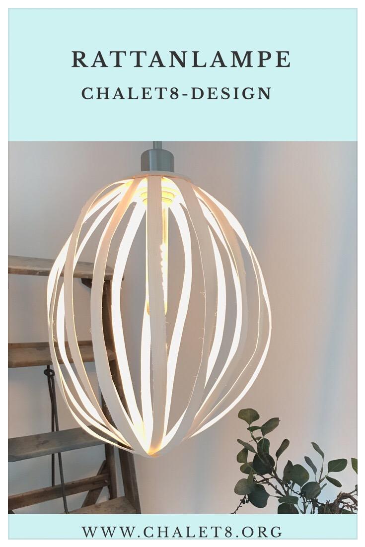 Rattanlampe Design by Chalet8, DIY Lampe, Lampe selber machen, #Chalet8, #Lampe, #Rattanlampe