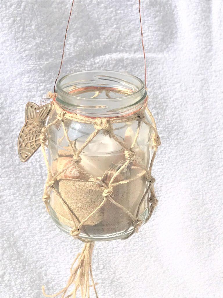 Weckglas mit Fischernetz aus Makramee als Windlicht oder Vase, #Chalet8