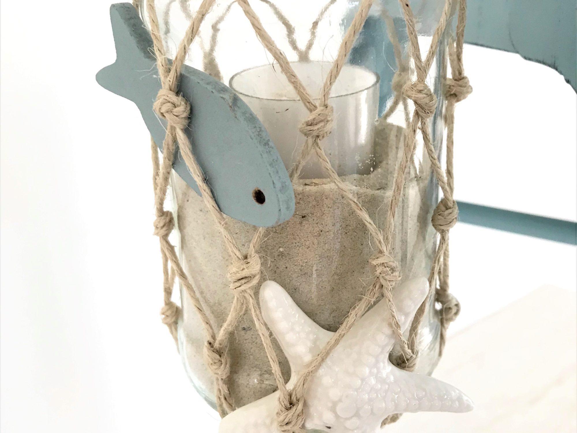 Weckglas mit Fischernetz aus Makramee als Windlicht oder Vase
