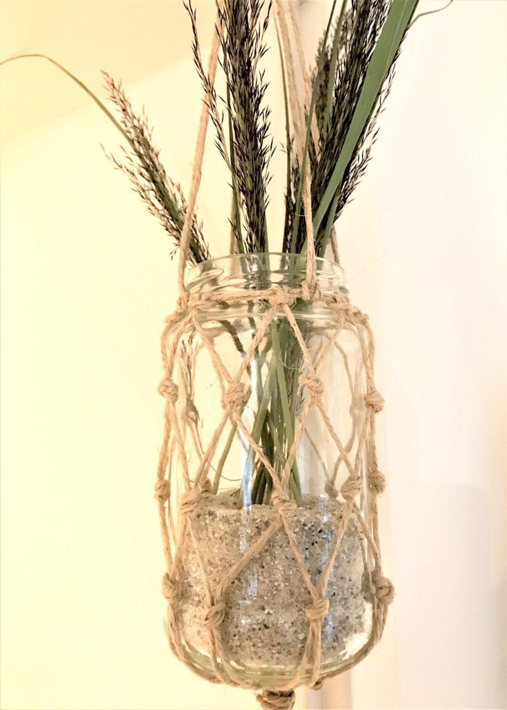 Weckglas mit Fischernetz aus Paketschnur als Windlicht oder Vase, #Chalet8