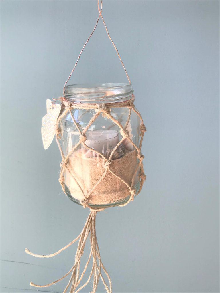 Weckglas mit Fischernetz aus Makramé als Windlicht oder Vase, #Chalet8