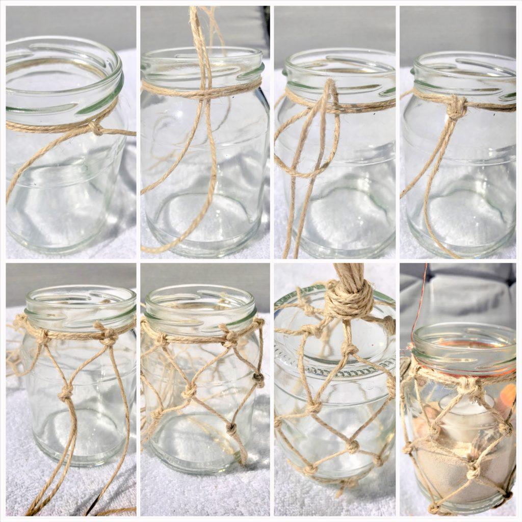 WeckWeckglas mit Fischernetz aus Makramee als Windlicht oder Vase