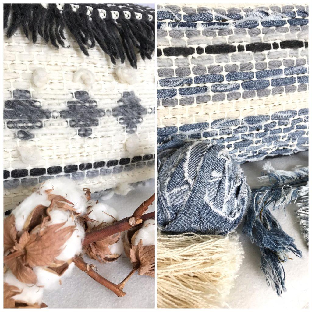 Ethno/ Boho Kissen selber weben, Kissen ohne Nähen basteln, Kissen aus Jeans und Wolle. #Chalet8, #Jeanskissen