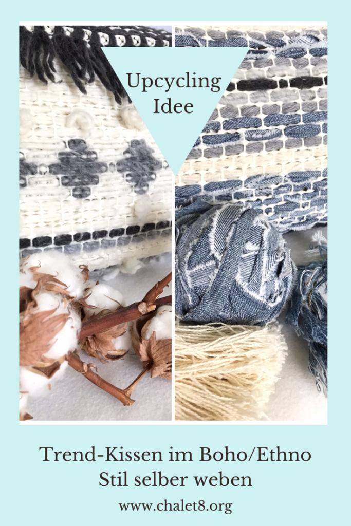 Trendiges Ethno/Boho Kissen selber machen aus Wolle, Jeans und Teppichmatte. Cooles Upcycling, Anleitung bei Chalet8, DIY-Blog. #Chalet8, #Jeanskissen