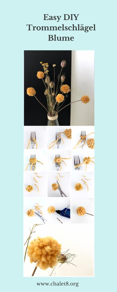 Tolle Deko: Craspedia (Trommelschlägel Blumen) aus Wolle basteln. Bilder-Anleitung, Trommelstöckchen, DIY, #Craspedia, #Chalet8.