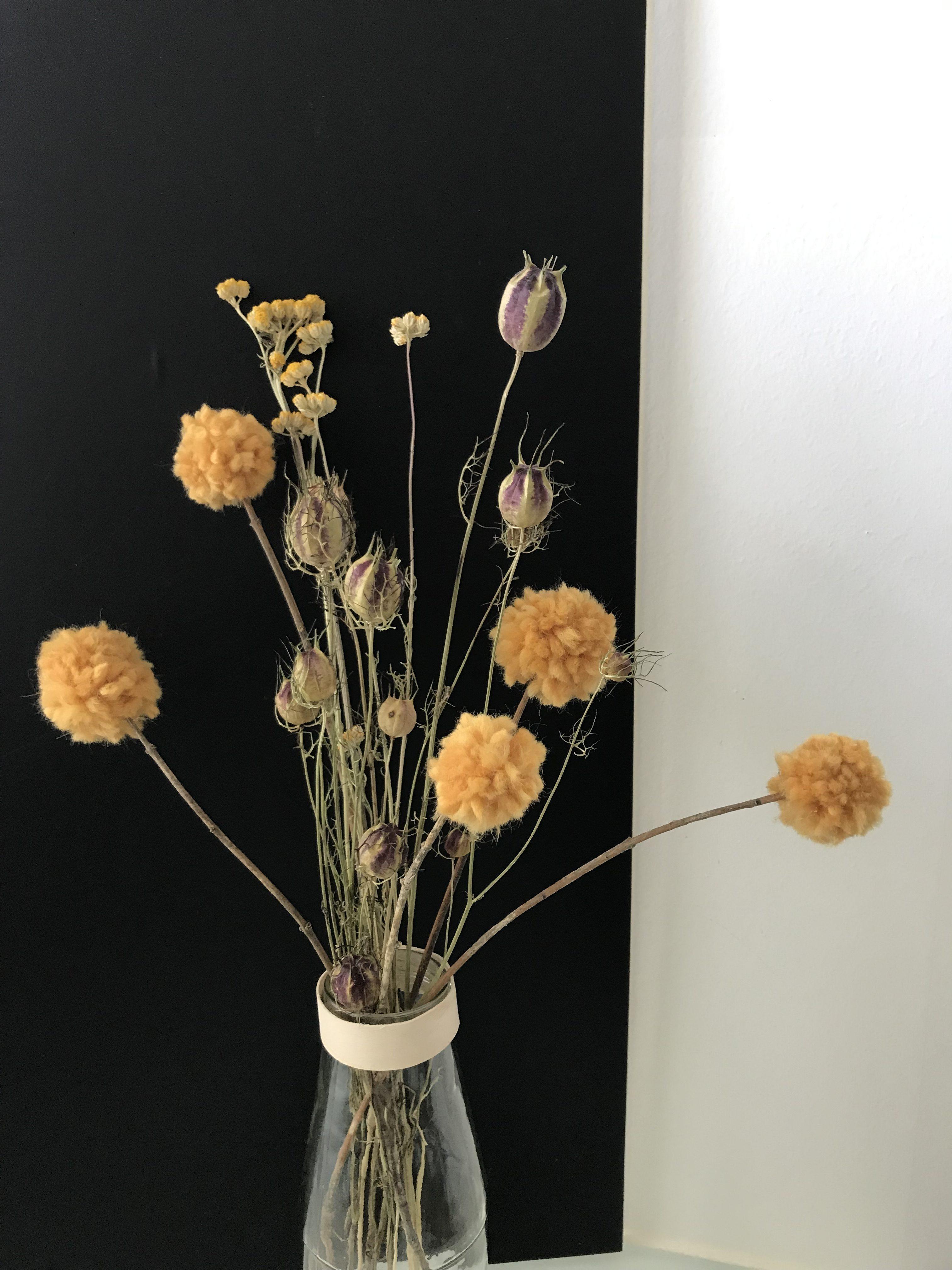 Deko Craspedia Trommelschlägel Blumen Aus Wolle Basteln