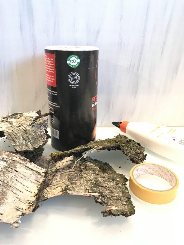 Basteln mit Naturmaterialien, Herbstdeko, Fake Birkenstämme, Natur Deko, Natural Boho, #Chalet8, #Fake-Birkenstämme