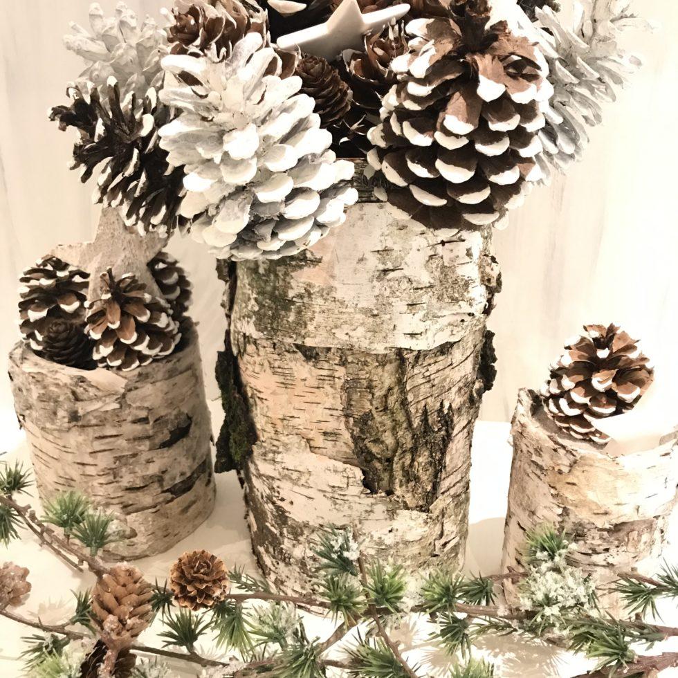 Basteln mit Naturmaterialien, Herbstdeko, Fake-Birkenstämme, Natur Deko, Natural Boho, #Chalet8, #Fake-Birkenstämme