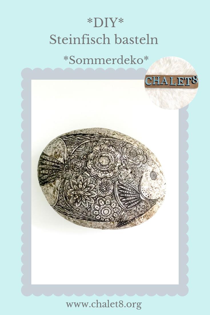 Steinfisch: Fischmotiv auf Stein bringen mit Serviettentechnik, aber ohne passende Serviette, dafür mitTrick 17. #Chalet8, #Stein