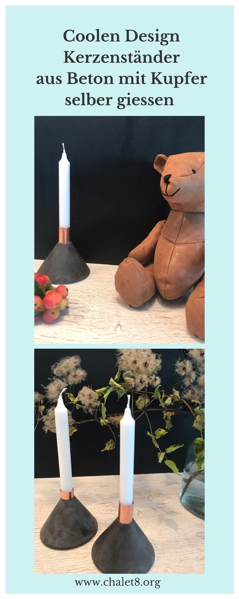 DIY: Coolen Design Kerzenständer aus Beton mit Kupfer selber gießen. Herbstdeko aus Beton. Beton gießen. Kerzenständer selber machen. Beton und Kupfer im Design vereint. Herbst Deko. Geschenkidee. #Chalet8 #Kerzenständer
