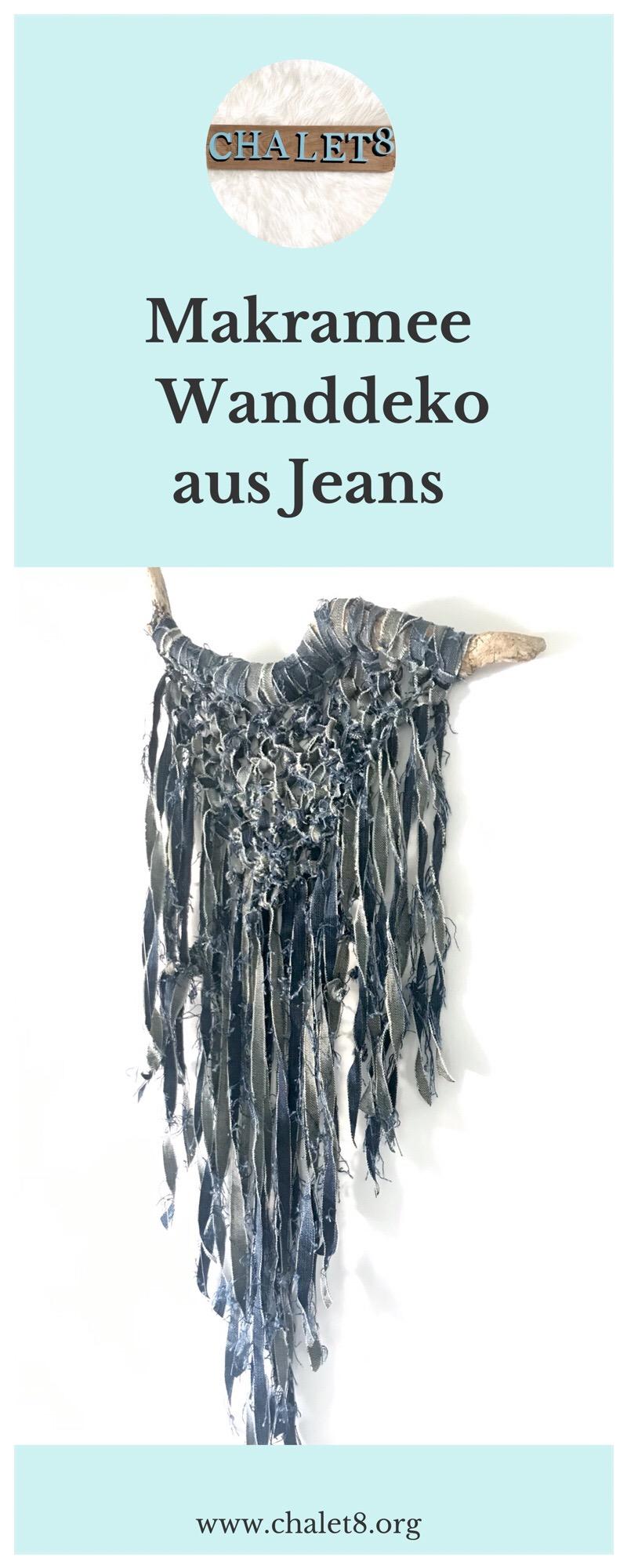 Tolle Makramee Idee. Makramee Wanddeko aus Jeans knoten. Jeans Upcycling.. Makramee knoten. #chalet8 #makramee