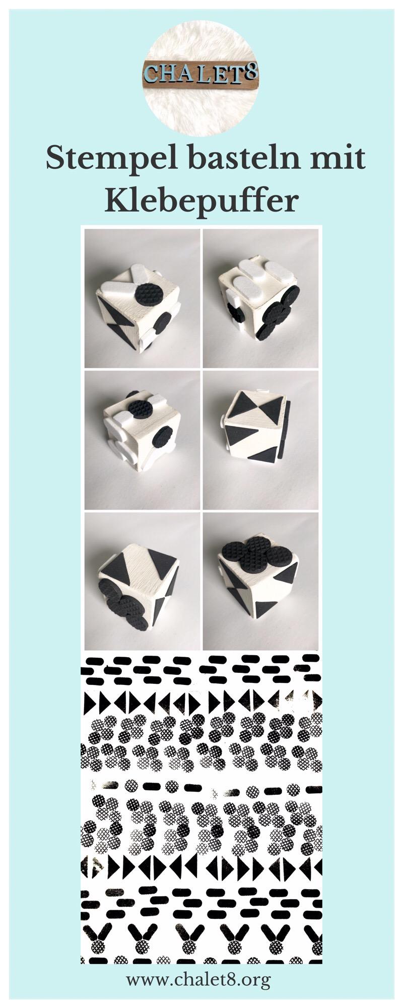 Stempel selber machen. Stempel erstellen. DIY Stempel mit Klebepuffern basteln. #Chalet8 #Stempel