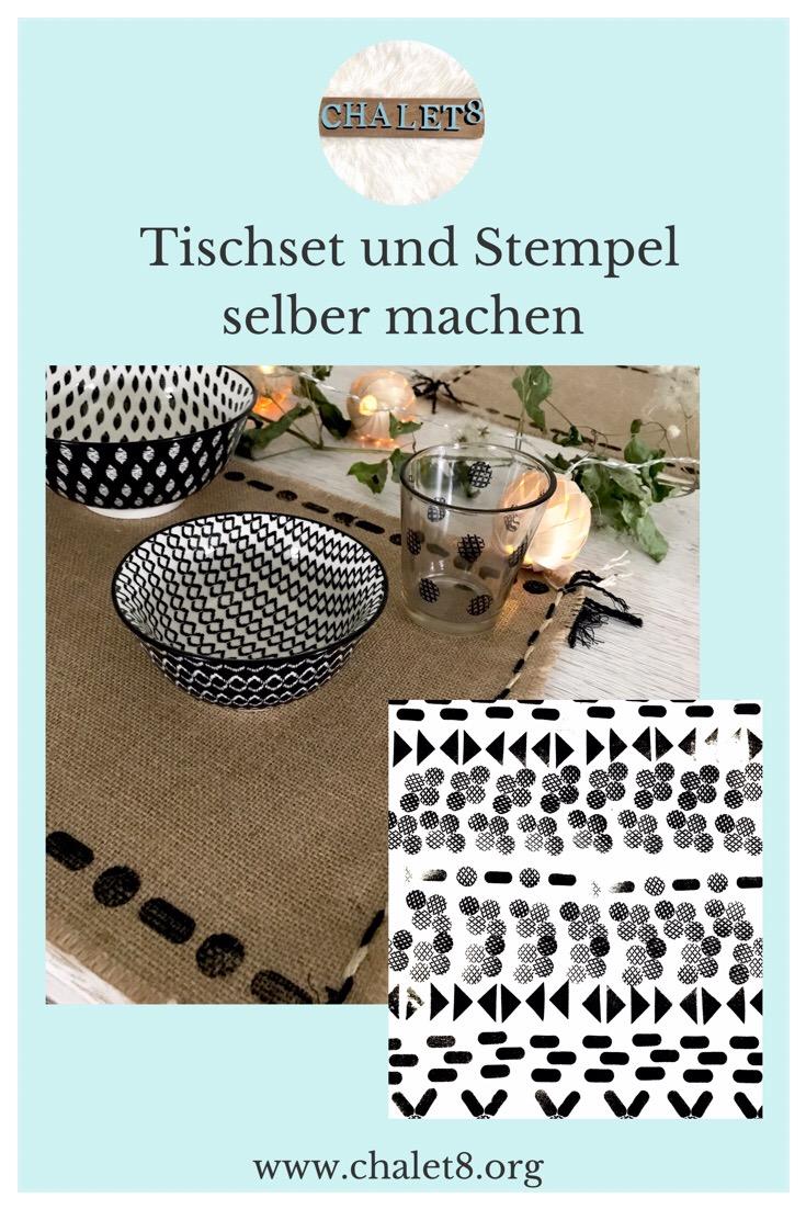Stempel selber machen. Stempel erstellen. DIY Stempel mit Klebepuffern basteln. Tischset selber machen und mit Stempeln pimpen #Chalet8 #Stempel #Tischset