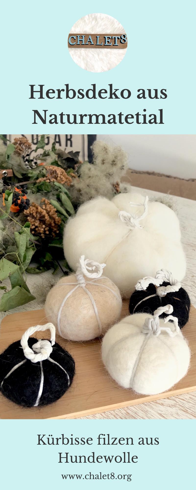 DIY: Kürbis filzen aus Hundewolle. Natürliche Herbst Deko selber machen. Prima Idee für Hunde. Upcycling von Hundehaaren. #Kürbis, #Herbst, #Chalet8, #Herbstdeko, #Filzen
