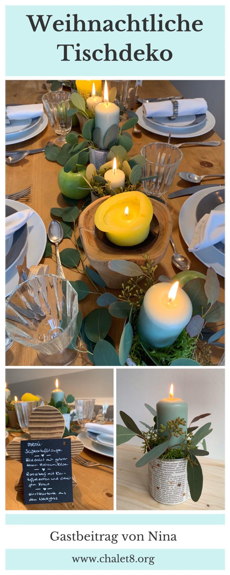 Tischdeko an Weihnachten mit einfachen DIYs. Weihnachtstisch mit Liebe dekorieren. dee fürTischdekoration an Weihnachten. #Chalet8 #Yeswewood #Tischdeko #Weihnachten