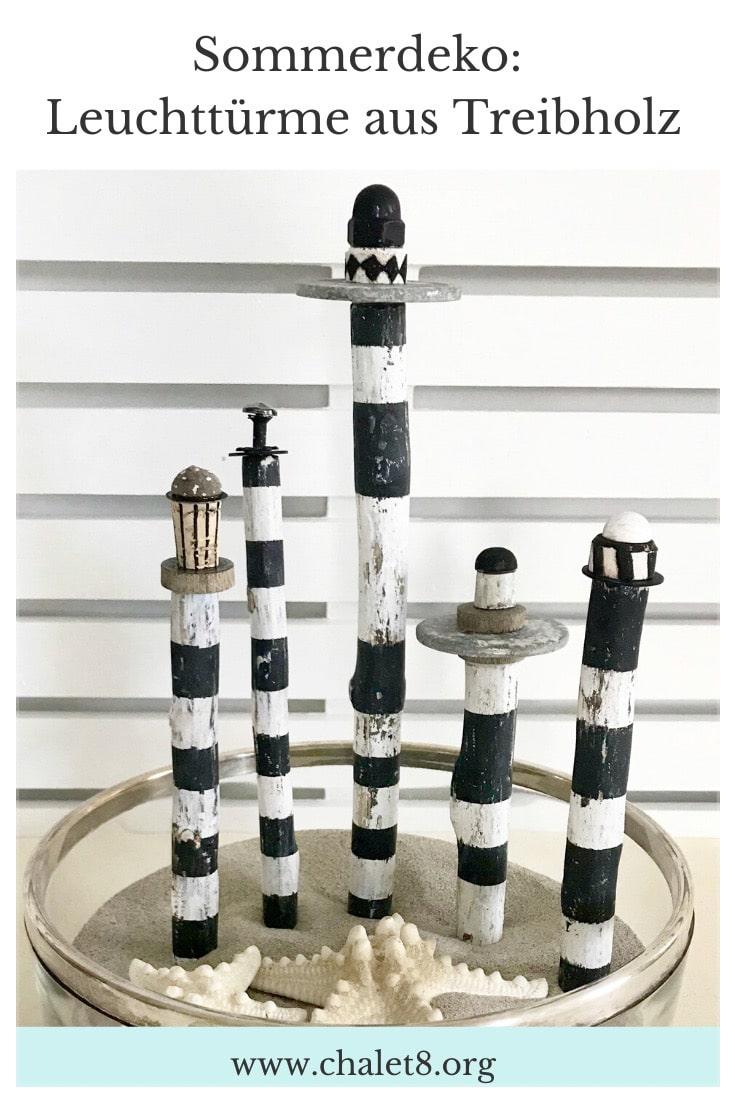 Sommerdeko: DIY Leuchtturm aus Treibholz basteln. Buchvorstellung: Naturzauber von Pia Pedevilla. Basteln mit Naturmaterial. #chalet8 #sommerdeko #Leuchtturm #Treibholz #Buchvorstellung #Naturmaterial #Naturzauber #PiaPedevilla