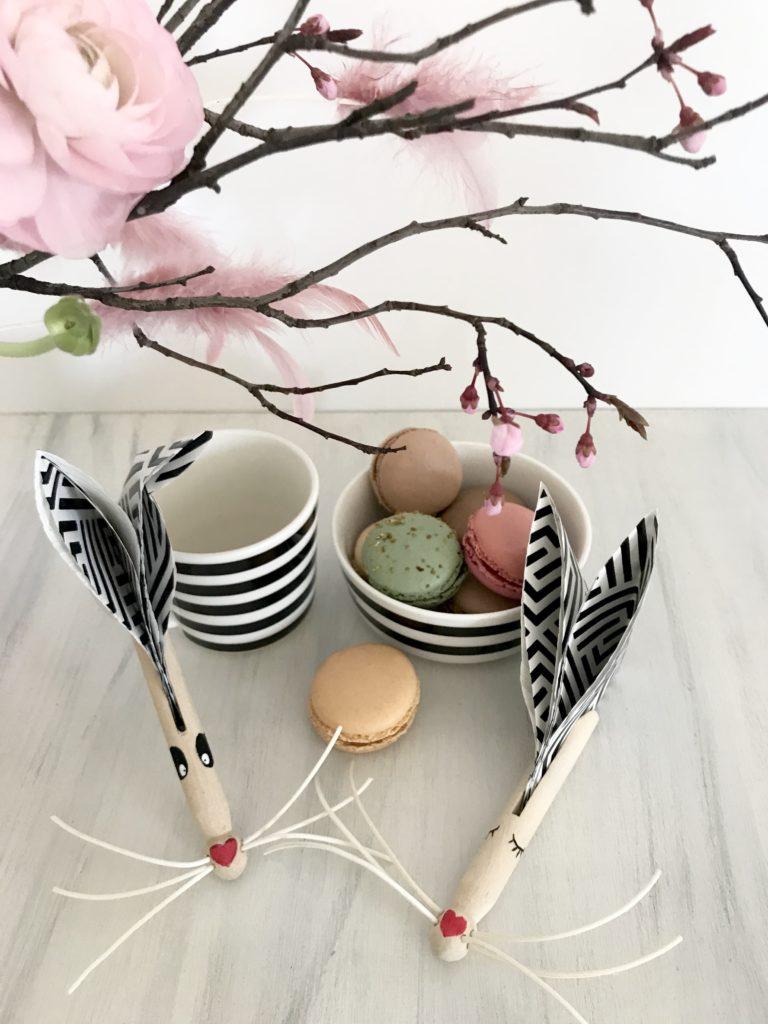 DIY Osterdeko aus Holz basteln. Süße Wäscheklammer Hasen.#chalet8 #Osterdeko #Holz #Wäscheklammer #Ostern