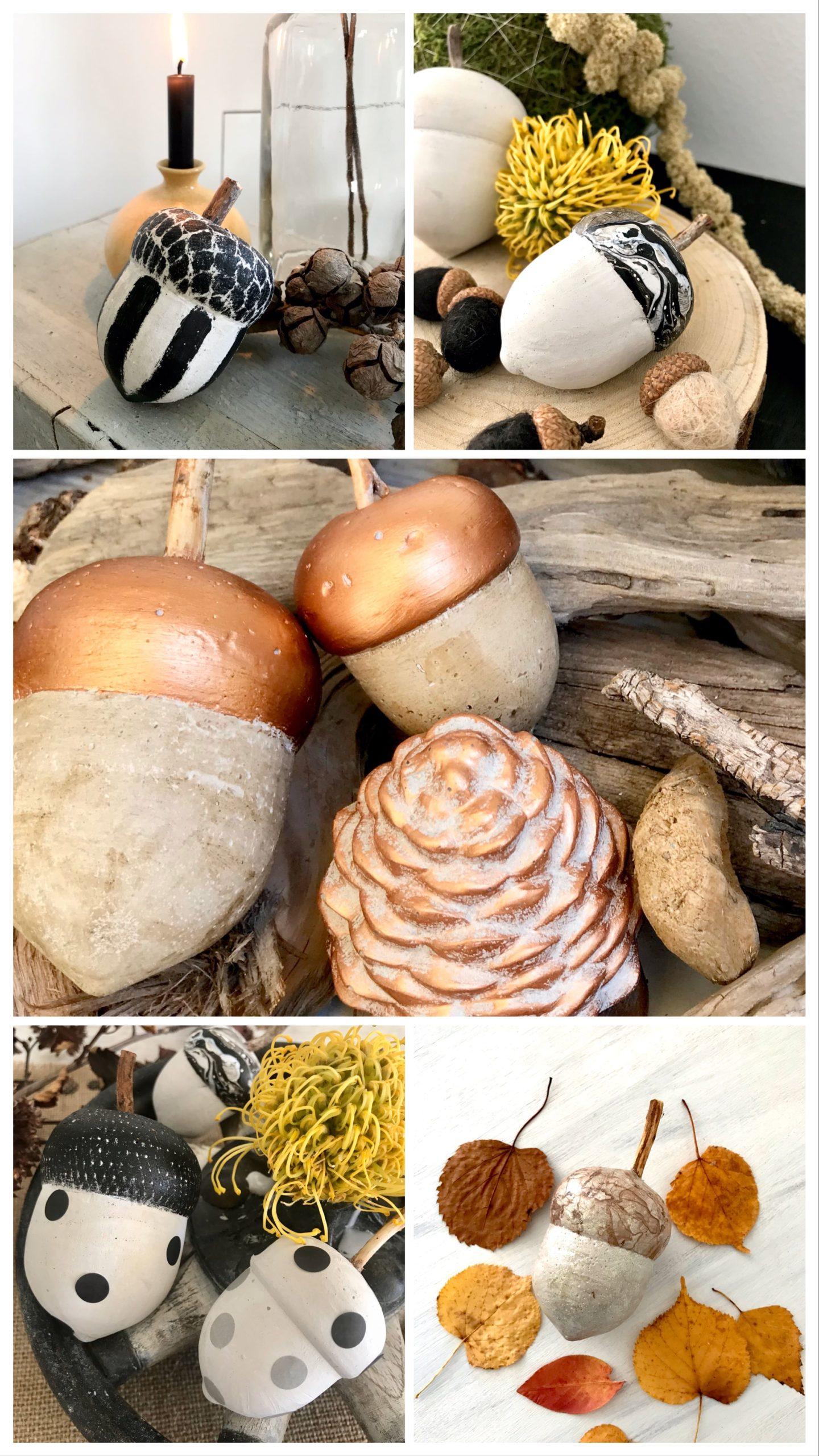 DIY: Kleine DIYs für das ganze Jahr. Herbst: Eicheln aus Beton in verschiedenen Designs. Beton DIY. Instagram Sammlung. #Chalet8, #Betondiy #HerbstDIY