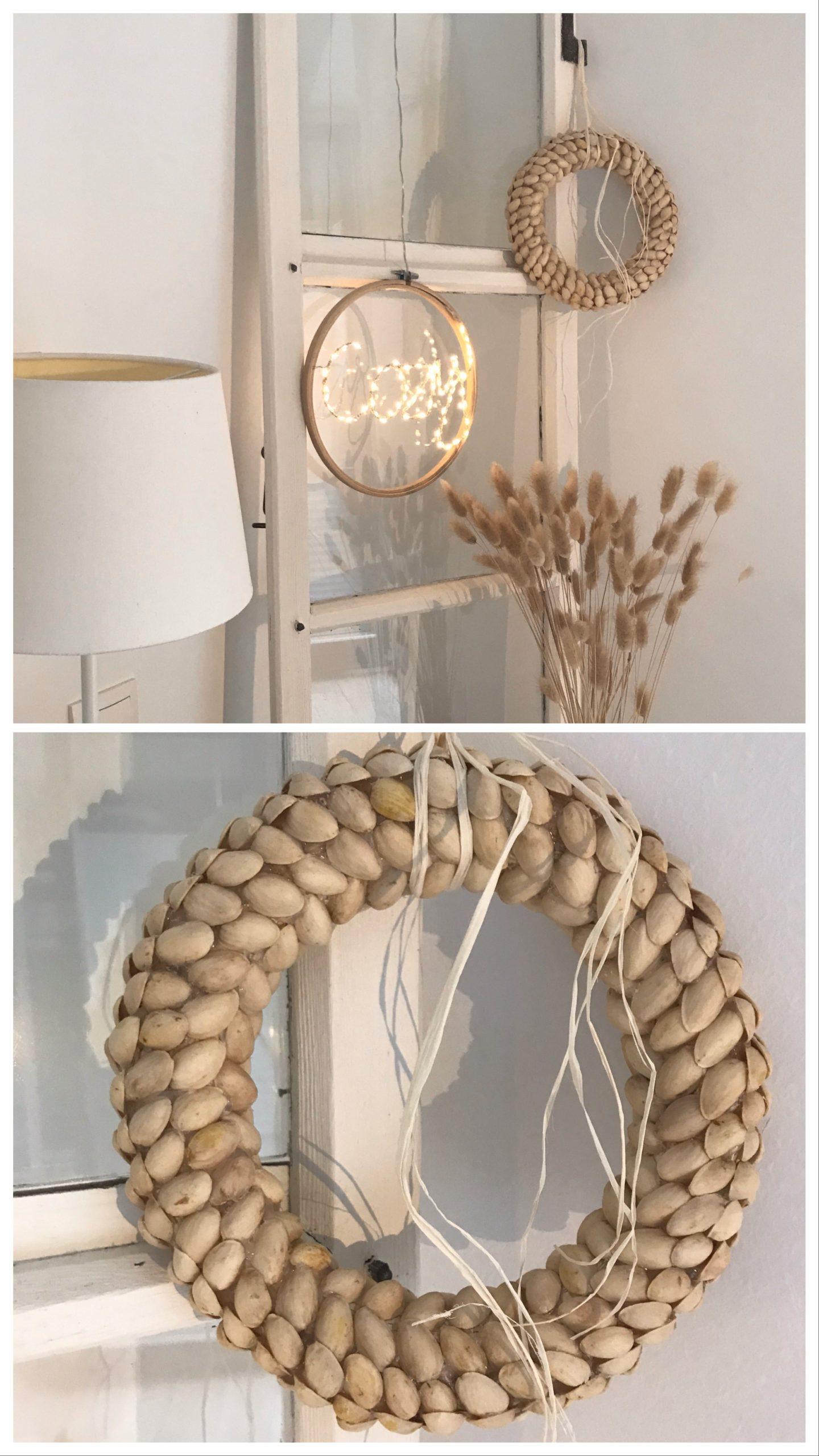 DIY: Kleine DIYs für das ganze Jahr. Basteln mit Pistazienschalen. Wunderschöne, natürliche Deko mit den Schalen von Pistazien basteln. Instagram Sammlung. #chalet8, #Kranz