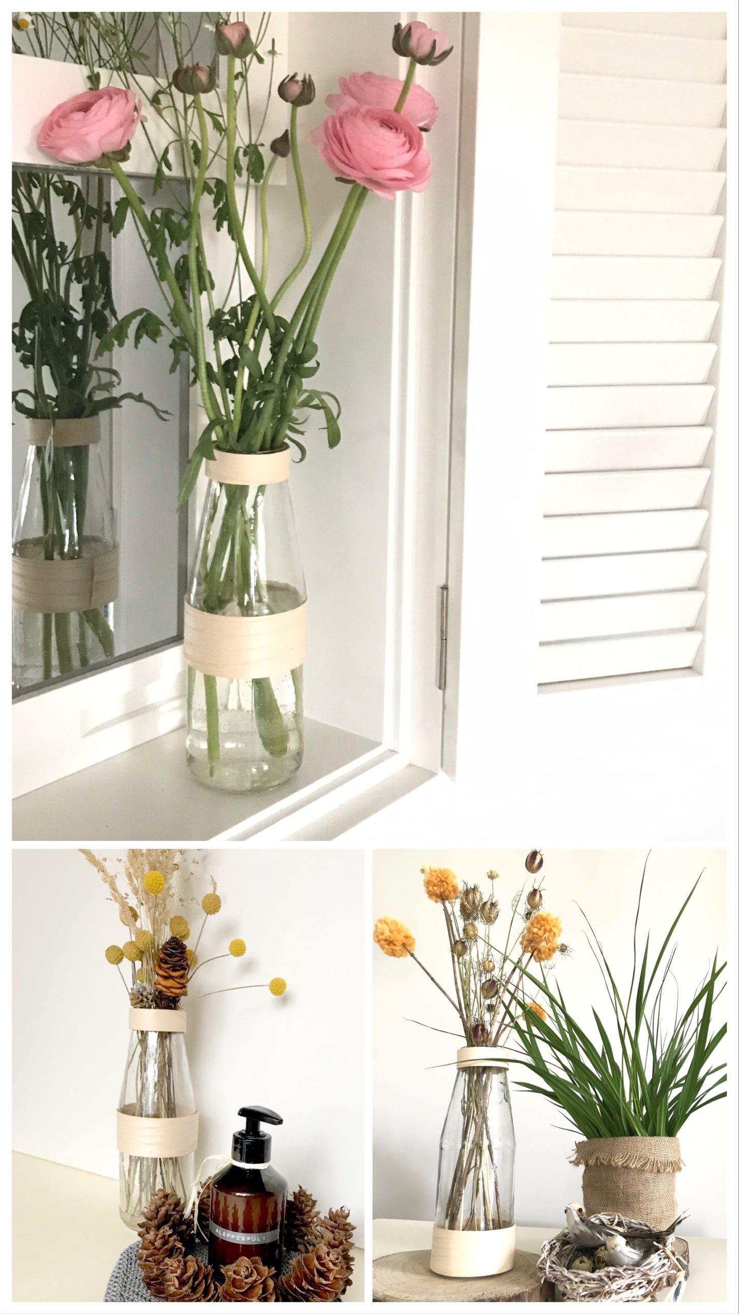 DIY: Kleine DIYs für das ganze Jahr. Vase mit Furnierholz. Upcycling einer alter Flasche zu coolen DIY Vase. Basteln mit Furnierholz. Instagram Summary. #Chalet8, #DIYVase