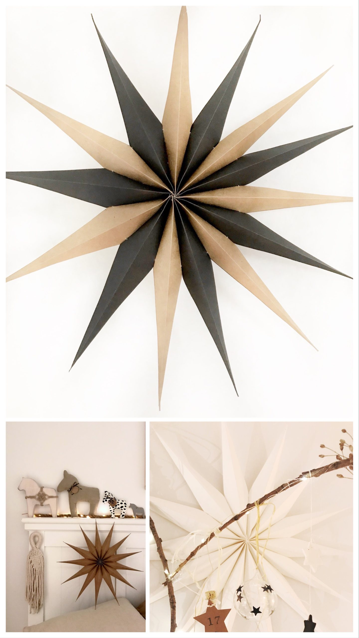 DIY: Kleine DIYs für das ganze Jahr. Winter: Sterne aus Papier. Schöne Papiersterne zur Weihnachtszeit. Instagram Sammlung. #chalet8, #Papierstern