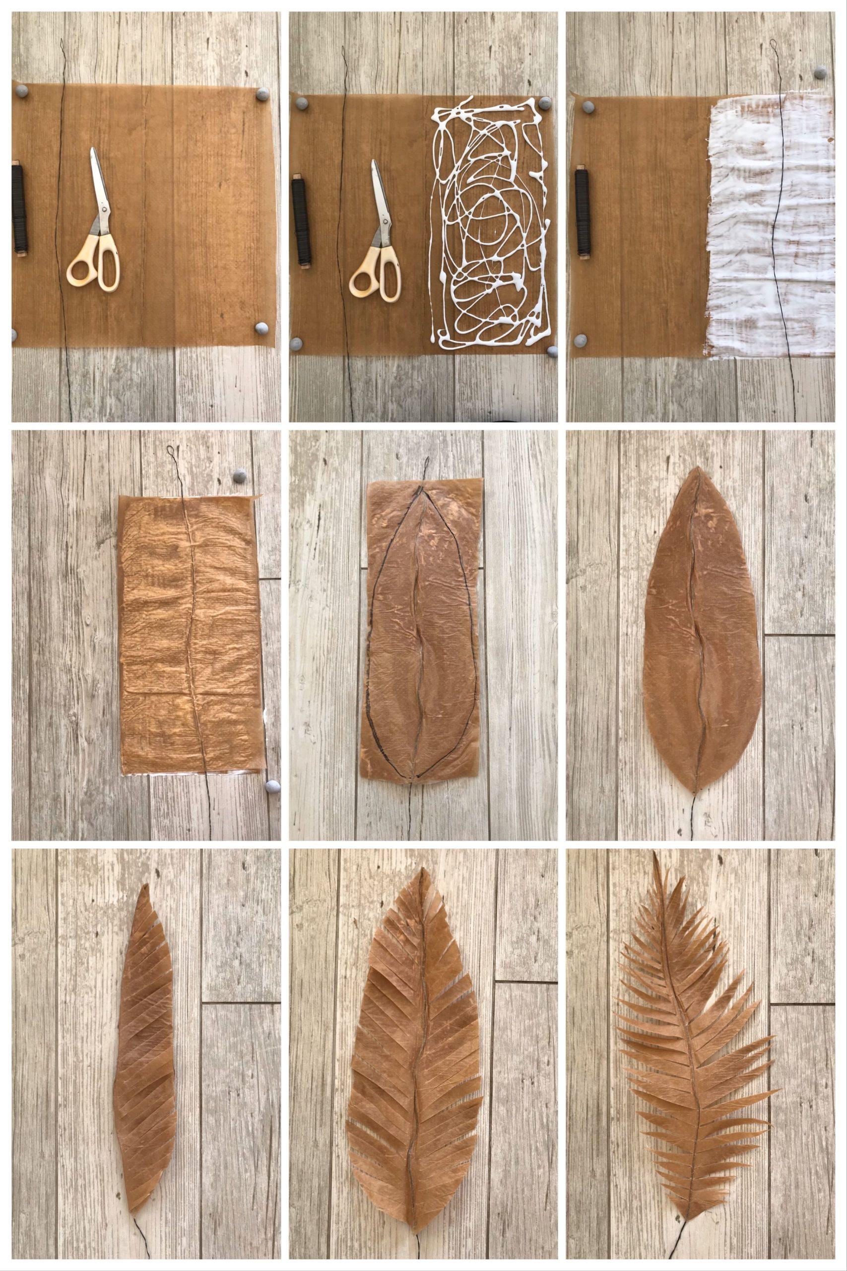 DIY Pflanze aus Papier basteln Palmenblatt aus Backpapier für den Urban Jungle #chalet8 #papierpflanze #papierdiy