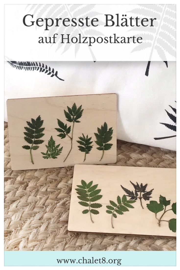 DIY: Gepresste Blätter auf Holzpostkarte. Holzbild mit Pflanzen. Geschenkidee mit Naturmaterial. Natur-Kunst auf Holz. #chalet8 #gepressteblätter #holzdiy #holzpostkarte