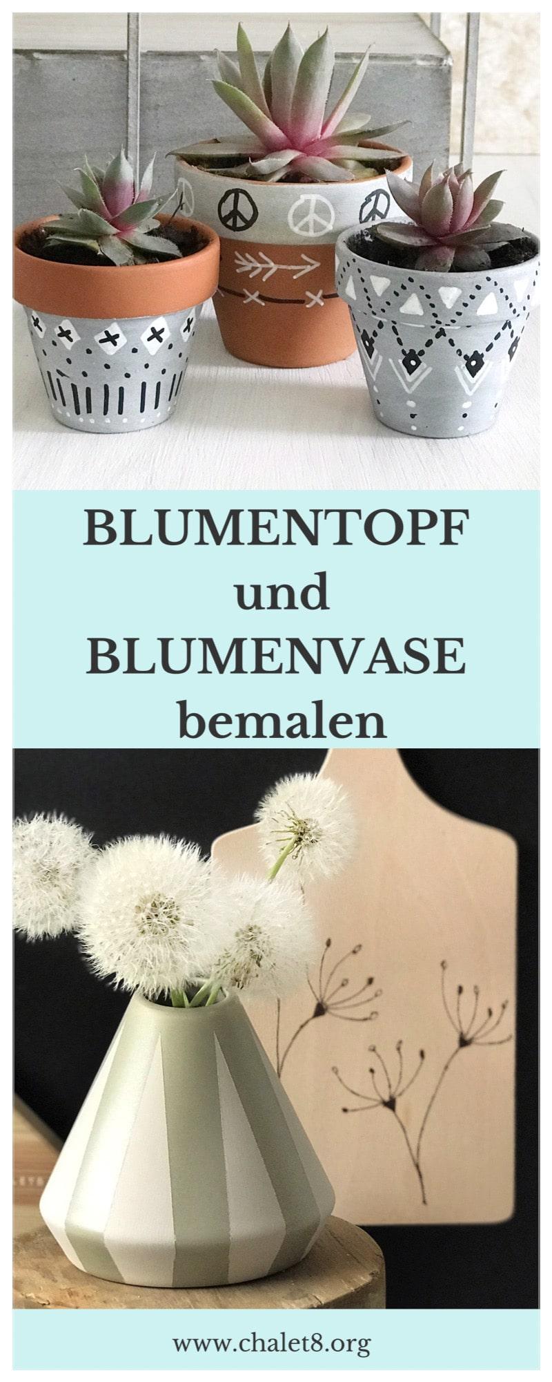 DIY: Blumentopf und Blumenvase bemalen in Scandi Boho Look. Blumentopf in Betonoptik. #chalet8 #Bohodeko #Blumentopfbemalen #DIYBlumenvase #DIYBoho #scandideko #diyscandi