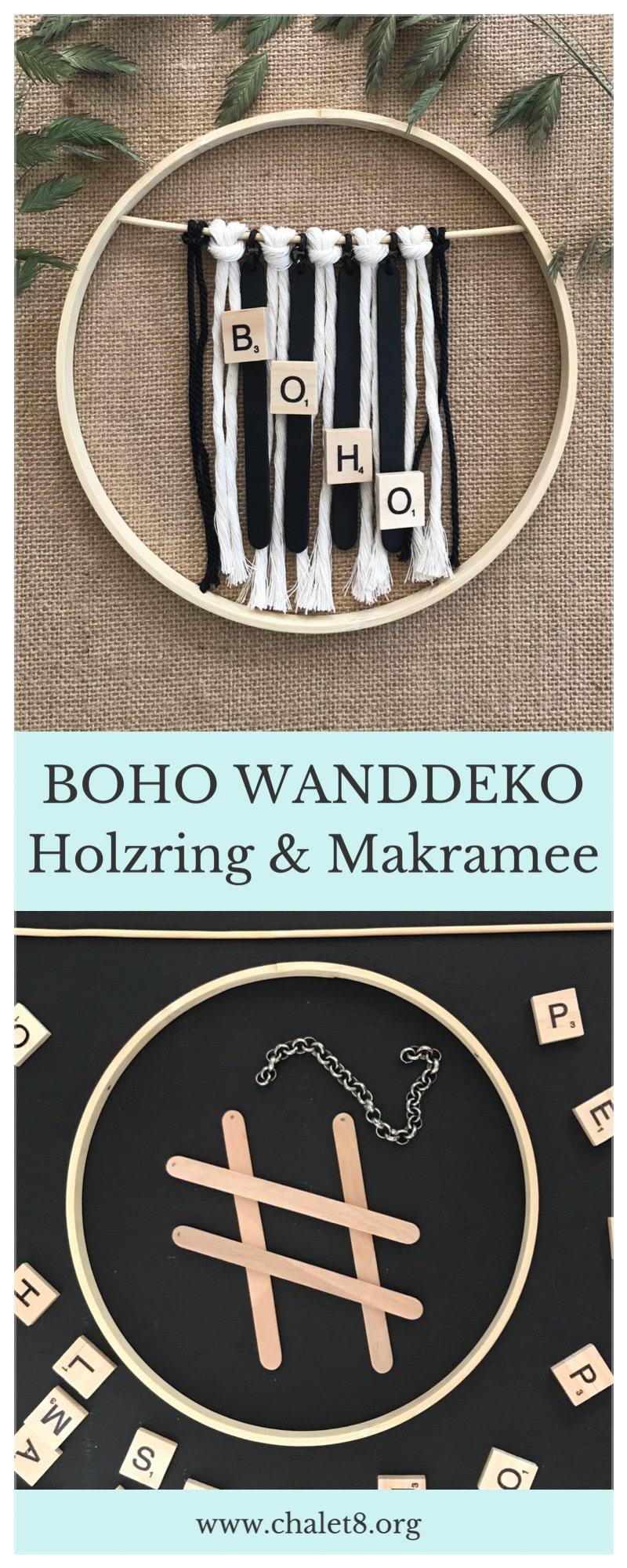DIY: Boho Wanddeko mit Holzring und Makramee. Boho Deko einfach selber machen. Eine schöne Kranz Idee #chalet8 #bohodeko #kranz #kranzidee