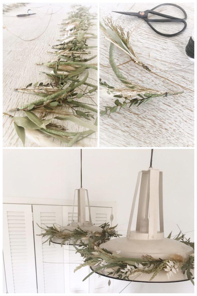 Lampen Dekoration mit Naturmaterial. Mit einem Trockenblumenkranz die Lampe dekorieren. #Chalet8 #Deokration #Trockenblumen