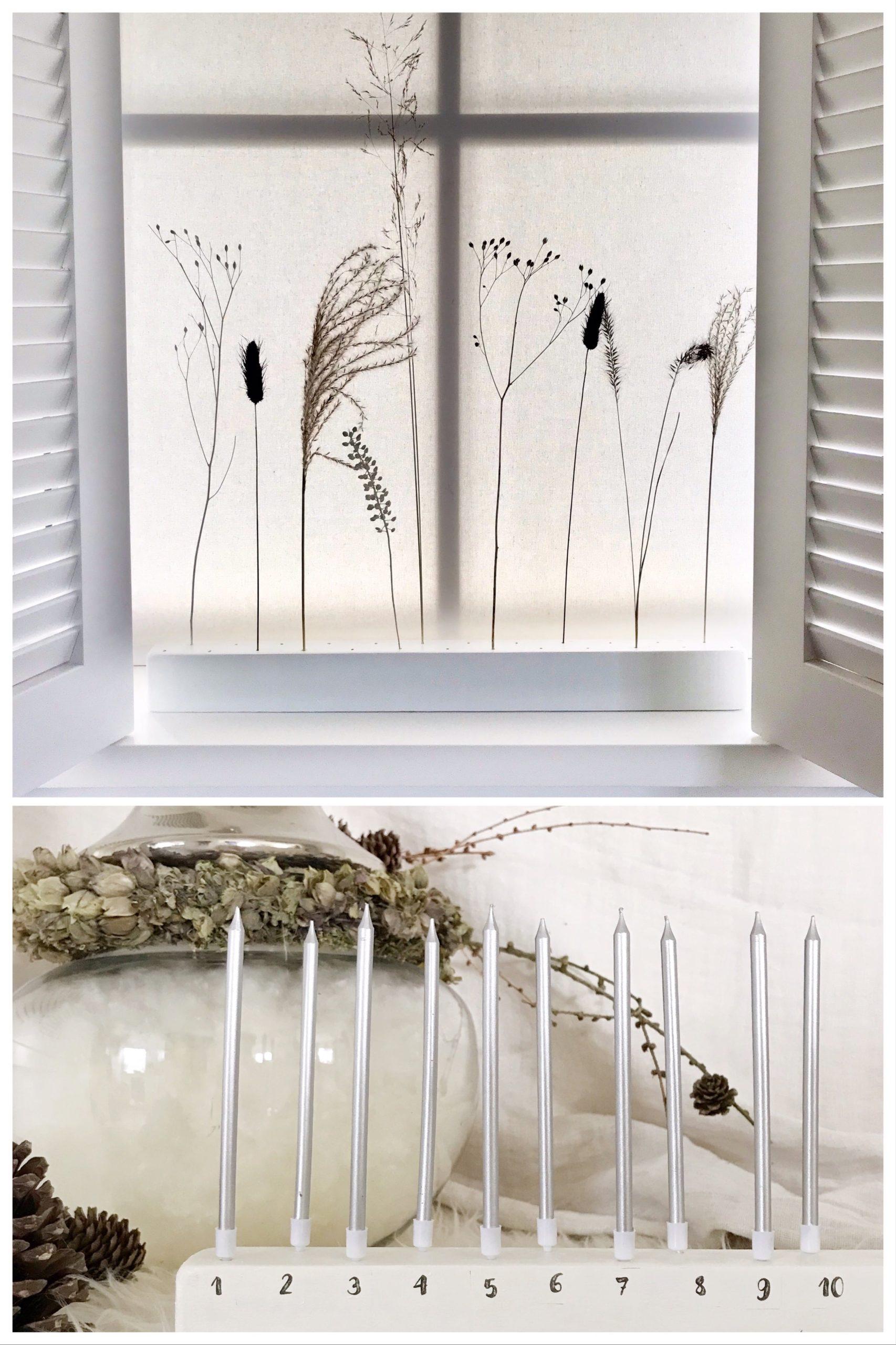 DIY Adventskalender aus Holz mit Kerzen wird zum Flowergram für Trockenblumen. Die Beschriftung erfolgt mit Wasserschiebefolie. #chalet8 #adventskalender #DIYadventskalender #Wasserschiebefolie #flowergram #trockenblumen