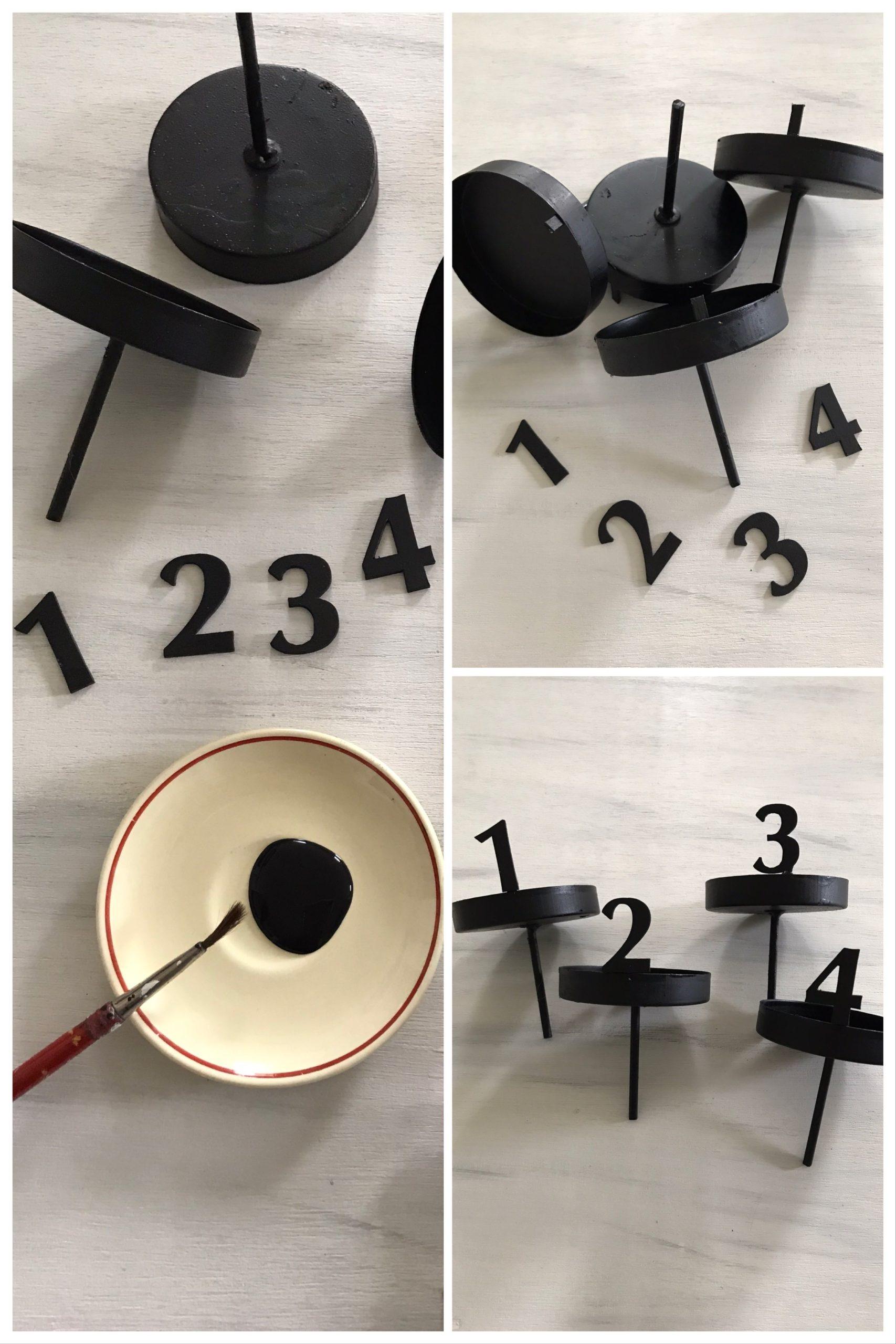 DIY Adventskranz: Kerzenstecker mit Zahlen basteln #chalet8 #adventskranz #advent #trockenblumen #moderneradvent
