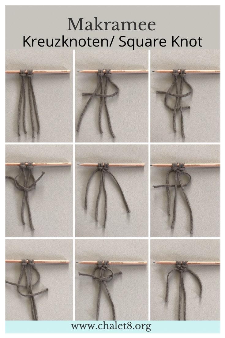 Makramee Anleitung Kreuzknoten, Square Knot #chalet8 #makremaee #makrameeknoten #squareknot #kreuzknoten