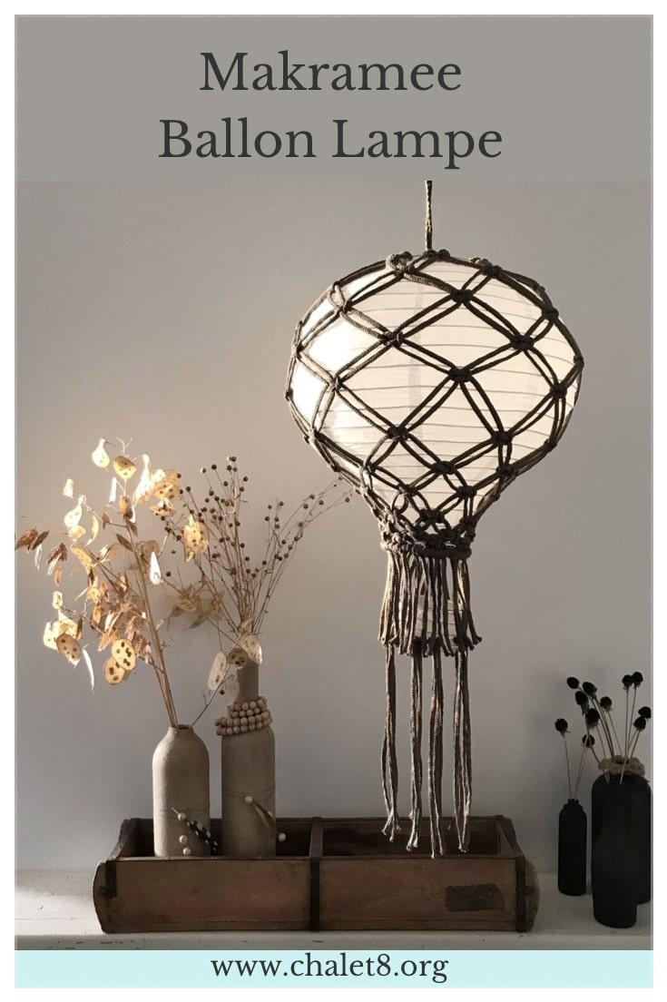 DIY: Anleitung für Makramee Lampe mit einem Papier Ballon. #chalet8, #makramee #makrameeanleitung #makrameelampe #papierballon #ballonlampe #makrameeidee