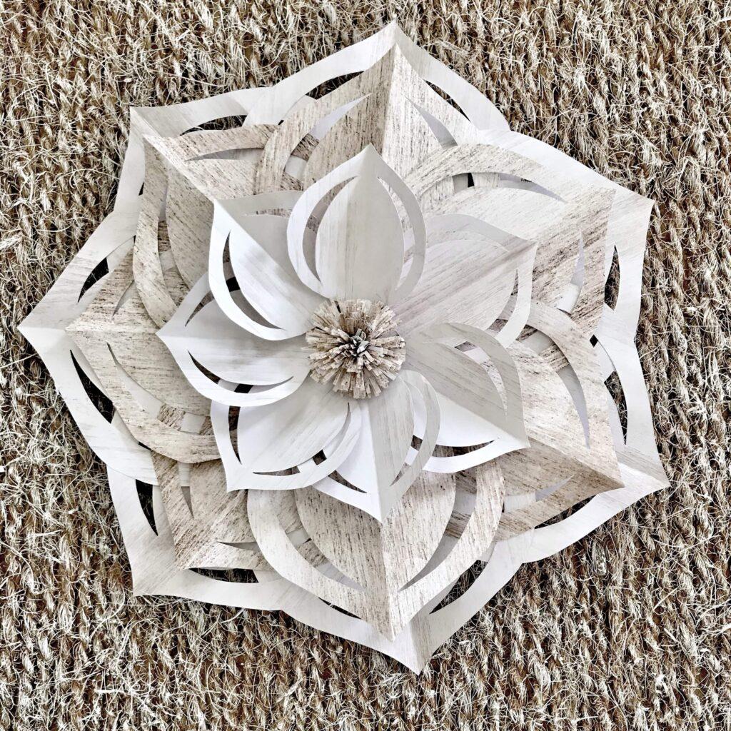 DIY Papierblume als Wanddeko / Partydeko mit Free Template einfach selbst basteln. #chalet8 #Papierblume #Wanddeko #Partydeko