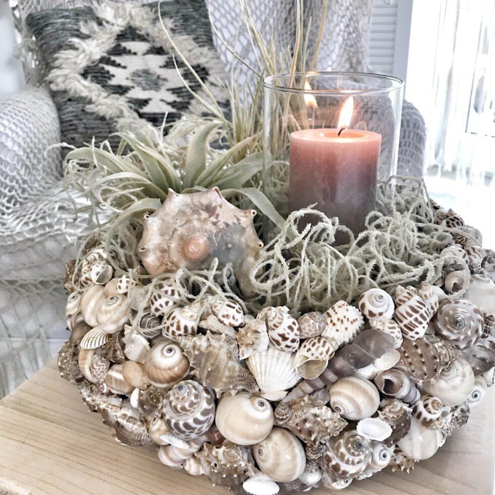 DIY: Maritime Deko mit Muscheln. Sommerliche bepflanzbare Blumenschale. #chalet8 #Muschel #Sommerdeko #Maritim #Blumenschale